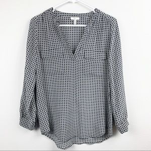 Joie 100% Silk Black and White Dot Blouse Size XS